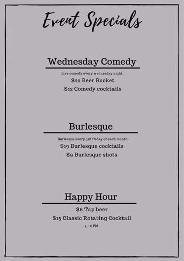 Event Specials menu