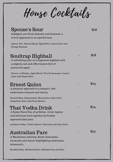 House Cocktails menu