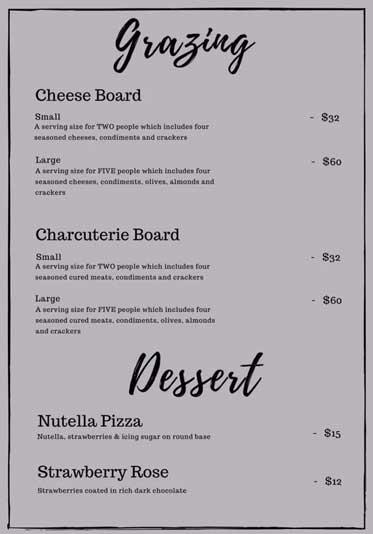 Grazing and dessert menu