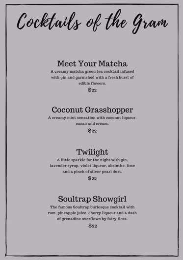 Cocktails of the Gram menu