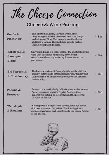 Cheese and wine pairing menu